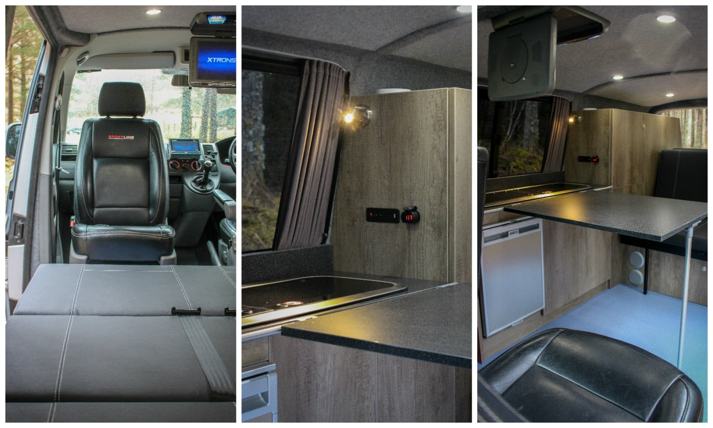 VW T5 Sportline Campervan furniture swivel seats Waeco fridge Smev Hob