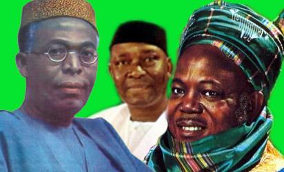 Obafemi Awolowo, Nnamdi Azikiwe and Ahmadu Bello - founding fathers of Nigeria