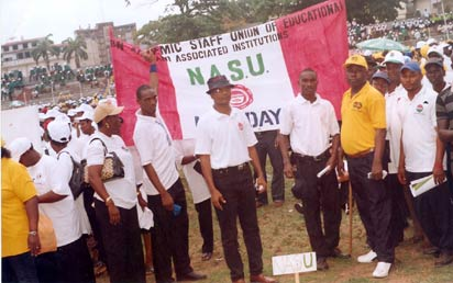 Members of Non-Academic Staff Union of Educational and Associated Institutions, NASU, at a recent rally in Lagos.