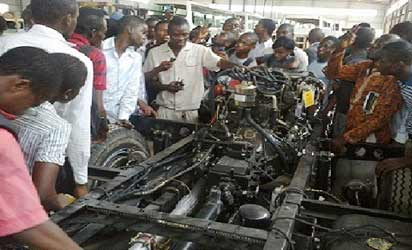 File photo: ...Students receiving practical instructions at Innoson car plant