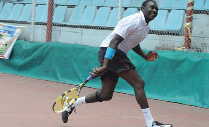 Shehu Lawal in action during the 34th Central Bank of Nigeria Senior Open Tennis Championship in Lagos on Thursday (10/5/12). NAN photo