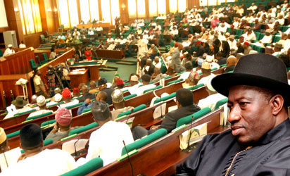 House of Representatives members and the President Goodluck Jonathan