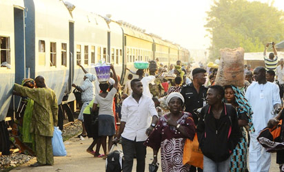 Travellers for the Osun state free ride to Osogbo in Lagos, yesterday.