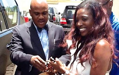 Annie, Tuface collecting their car keys