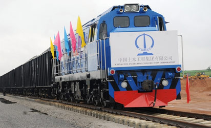 A moving train on the 68 percent completed railway track of the Abuja - Kaduna fast train project launched by Vice President Namadi Sambo in Abuja on Thursday