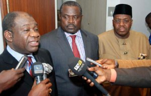 *POWER MEETING: From left— Prof. Chinedu Nebo, Minister of Power; Engr. Beks Dagogo-Jack, Chairman, Presidential Task Force on Power, and Amb. Godknows Igali, Permanent Secretary, Ministry of Power, address newsmen after their meeting with President Goodluck Jonathan at Aso Villa, Abuja, yesterday. PHOTO: Abayomi Adeshida.