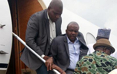 *Suntai back in Nigeria:  The ailing Governor of Taraba State, Dambaba Suntai arriving Nnamdi Azikwe International Airport Abuja  on Sunday. Photo by Gbemiga Olamikan.