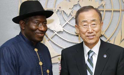 PRESIDENT GOODLUCK JONATHAN (L), WITH UN SECRETARY-GENERAL, BAN KIMOON AT THE 66TH SESSION OF THE UN GENERAL ASSEMBLY, NEW YORK ON THURSDAY.