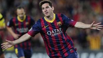 Image result for Messi eyes 100th goal against Olympiacos