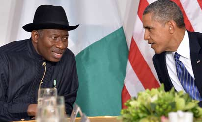 US President Barack Obamar) talks with President Goodluck Jonathan of Nigeria before their bilateral meeting in New York on September 23, 2013 on the sideline of the United Nations General Assembly. AFP Photo