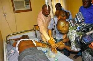 Senator Abe receiving first aid treatment in Port Harcourt