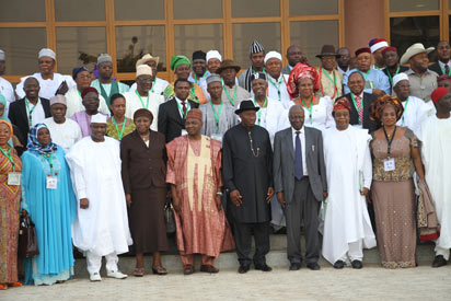 President Goodluck Jonathan flanked by Vice President Namadi Sambo and the Conference Chairman, Justice Legbo Kutigi  (4r) while the Speaker TIONAL CONFERENCE House of Representatives, Hon. Aminu Tambuwal (3l); Vice Chairman of the Conference, Prof. Boolaji Akinyemi (3r); Chief Justice of the Federation, Justice Aloma Mukhtar (4l) and other dignitaries watched in a group photograph with delegates after the inauguration of the 2014 National Conference of the People of Nigeria at the National Judicial Institute, Airport Road, Abuja. Photo by Abayomi Adeshida 17/03/2014