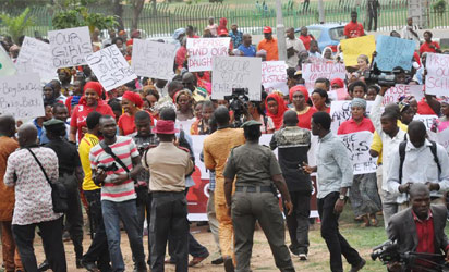ABDUCTION PROTESTS— Women For Peace, protesting the abduction of Chibok school girls, yesterday, in Abuja.