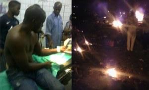 Mr Shoick Daniel an injured victim of the bomb blast yesterday receiving treatment at the Maitama District Hospital, Abuja