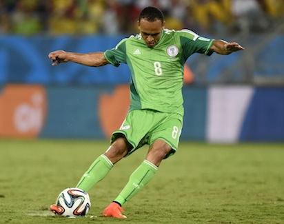 Nigeria's forward Peter Odemwingie controls the ball during the Group F football match between Nigeria and Bosnia-Hercegovina at the Pantanal Arena in Cuiaba during the 2014 FIFA World Cup on June 21, 2014. AFP PHOTO