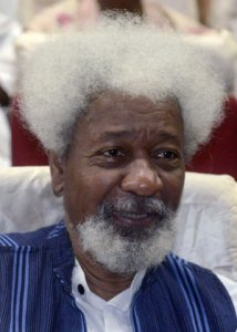 Nobel Prize laureate Wole Soyinka smiles during a lecture to celebrate his 80th birthday in Abeokuta on July 11, 2014. The lecture was organised by the National Association of Seadogs, also known as the Pyrate's Confraternity, founded in 1952 by Wole Soyinka, a student at the time, with six others members of the University College of Ibadan to combat tribalism and ethnic alignments on campus. AFP PHOTO