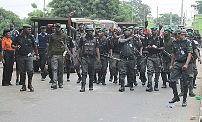 Policeman get sets to quell protect of students of Olabisi Onabanjo University Ago-Iwoye in Abeokuta