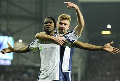 CELEBRATION... West Brom striker Brown Ideye celebrates with team-mate James Morrison (right) after scoring the opener  against Swansea  Wednesday night. West Brom won 2-0.