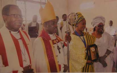 From left, Archbishop of Lagos, Most Rev. Ephraim Ademowo; Lord Bishop of Ijebu South-West Diocese, Rt. Rev. Babatunde Ogunbawo; Dr. Olufunke Amosun, Ogun State governor's wife; and Mrs. Olatundun Ogunbawo, Ijebu South-West Diocese bishop's wife.