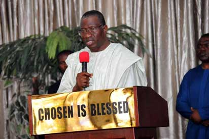 President Jonathan addressing the congregation at The Lord's Chosen Charismatic Revival Ministry in Lagos, Saturday