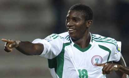 WAY TO NEW ZEALAND: Taiwo Awoniyi points the way to New Zealand 2015 after scoring against Congo yesterday.