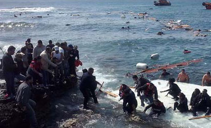 Rescue operation on one of the African migrant boats that capsized .