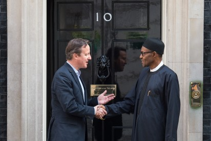 Britain's Prime Minister David Cameron (L) shakes hands with Nigeria's President-elect Muhammadu Buhari following a meeting in Downing Street, central London on May 23, 2015. AFP PHOTO / LEON NEAL