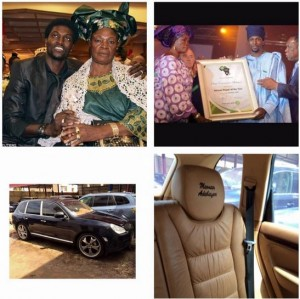 Adebayor and mum...the car he bought for her