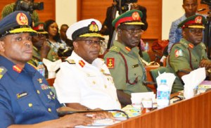 Screening: From left, Chief of Air Staff, Air Vice Marshal Sadiq Baba Abubakar; Chief of Naval Staff, Rear Admiral Ibok-Ete Ekwe Ibas; Chief of Army Staff, Major General Tukur Burutai and Chief of Defence Staff, Major-General Abayomi Gabriel during Service Chiefs confirmation meeting with Ad-Hoc Committee on Screening of the Service Chiefs of the Senate, at the National Assembly, Abuja, yesterday. Photo: Gbemiga Olamikan.
