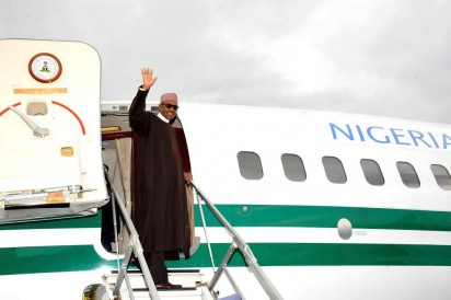 PRESIDENT MUHAMMADU BUHARI WAVES AS HE DEPARTS THE UMARU MUSA YAR'ADUA AIRPORT, KATSINA ON THURSDAY (24/9/15) FOR NEW YORK TO ATTEND THE 70TH SESSION OF THE UNITED NATIONS GENERAL ASSEMBLY.