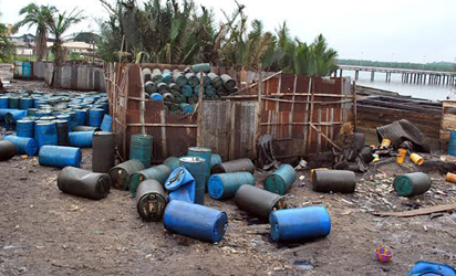 bout 5,150 drums containing illegally refined diesel discovered during the raid. Photos: NAN.