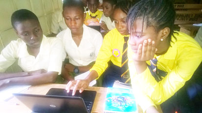 Cross section of students from Isheri Grammar School, Dee Unique College, Vicscum private school and Olivesfield during Google-WAAW Foundation computer programming held recently in Lagos.