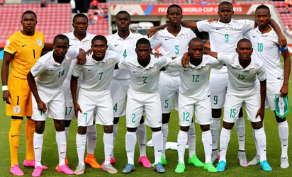 The team of Nigeria line up before the FIFA U-17 Men's World Cup 2015 group A match between Nigeria and USA at Estadio Nacional de Chile on October 17, 2015 in Santiago, Chile. (Photo - FIFA)