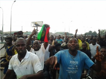 IPOB potesters grounding Onitsha, the commercial city of Anambra State, South-east Nigeria, during their 1 Million March, to call for the immediate release of their leader, Nnamdi Kanu. Kanu was arrested by the Department of State Services, DSS, on his way into Nigeria from UK