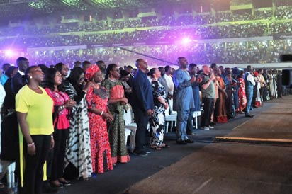 •Convener of The Experience, Pastor Paul Adefarasin, representative of Governor of Lagos State, Commissioner for Poverty Alleviation, Mrs Lola Akande and other attendees at The Experience 2015, in Lagos.