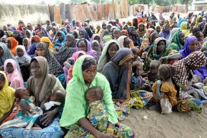 Bama IDP Camp: Cross Section of women at Bama IDP Camp in Maiduguri  during Minister's Tour of Bama . Photo by Gbemiga Olamikan.