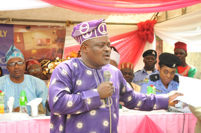 Speaker of the Lagos State House of Assembly,  Mudashiru Obasa addressing stakeholders in Agege.