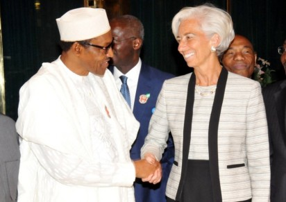 President Muhammadu Buhari receiving IMF Managing Director, Christine Lagarde in Abuja.