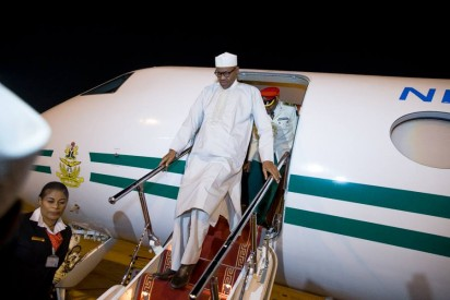 President Buhari touching down the Presidential Wing of the Abu Dhabi International Airport, UAE, on Sunday, ahead of the 2016 he World Future Energy Summit.