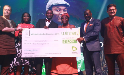 Chief Marketing Officer, Etisalat Nigeria, Francesco Angelone; Etisalat Prize for Literature Judge, Molara Woods; Winner, 2015 Etisalat Prize for Literature, Fiston Mwanza Mujila; Etisalat Prize for Literature Judge, Zukiswa Wanner; the Chair of Judges, Etisalat Prize for Literature, Prof. Ato Quayson and the Chief Executive Officer, Etisalat Nigeria, Matthew Willsher with the cheque of 15,000 BP presented to Mujila at the Awards Ceremony of the 2015 Etisalat Prize for Literature in Lagos at the weekend.