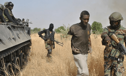 Boko Haram suspect captured by troops of 155 Task Force Battalion, 21 Brigade  at  Dipcheri, Jere and Chogolo towns