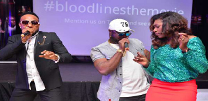 * Actress Ufuoma dancing along with  Kcee, Harrysong at the event.