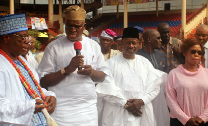 INAUGURATION: From left, Ewi of Ado-Ekiti, Oba Adejugbe Aladesanmi 111; Ekiti State Governor, Mr. Ayodele Fayose ; his counterpart from Gombe State, Governor Ibrahim Dankwabo, and Ekiti State Commissioner of Works,  Mrs. Olufunmilayo Oguns, during the inauguration of ultra modern hall at Ewi's  palace in Ado-Ekiti...on Wednesday