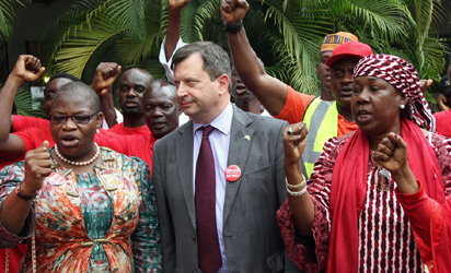 PROTEST: From left, Dr Oby Ezekwesili; British High Commissioner, Amb. Paul Arkwright, and Hajia Fatima Abba Kaka during their protest at the British High Commission in Abuja, yesterday. Photo: Abayomi Adeshida.
