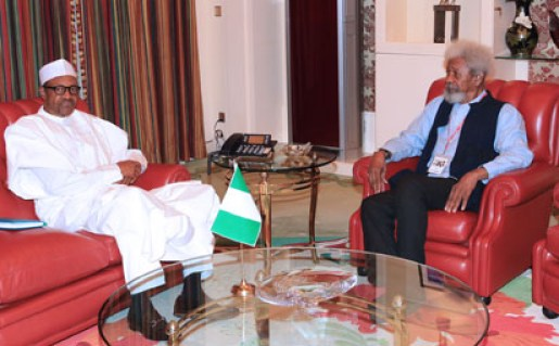 PRESIDENT BUHARI RECEIVES PROF SOYINKA 2A&B. President Muhammadu Buhari in an audience with the Noble Lareate, Playwriter and Poet, Prof Wole Soyika during a meeting at the State House in Abuja. PHOTO; SUNDAY AGHAEZE. AUGUST 11 2016.