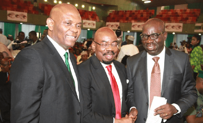 Chairman Heirs Holdings, Tony Elumelu; Chairman Zenith Bank, Jim Ovia and  Edo State Governor-Elect Godwin Obaseki during the presentation of a book titled Muhammadu  Buhari: The Challenges Of Leadership In Nigeria authored by Prof. John Paden at the African Hall, International Conference Centre, Abuja. Photo by Abayomi ADESHIDA 03/10/2016