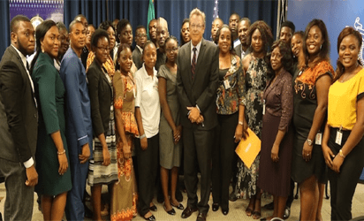 Group photo of the grantees with the Consul General F. John Bray during the grant awards ceremony held at the U.S. Consulate General Lagos on Friday