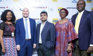 L-R: Customer Relations Executive, MTN Nigeria, Ms. Ugonwa Nwoye; Commercial Director Nigeria and Ghana, Air France KLM, Mr. Arthur Dieffenthaler; Chief Marketing Officer, MTN Nigeria, Mr. Rahul De; Human Resource and Corporate Services Executive, Mrs. Amina Oyagbola and General Manager, Consumer Marketing, MTN Nigeria, Mr. Richard Iweanoge at the MTN – Air France KLM partnership announcement in Lagos