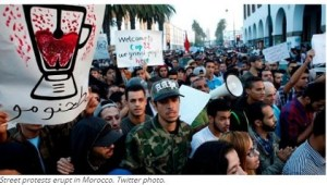 Street protests erupt in Morocco. Twitter photo.