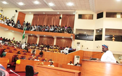 Lagos State Governor, Mr. Akinwunmi Ambode, addressing the Lagos House of Assembly; members of the State Executive Council; Party Chieftains and other dignitaries during the presentation of the Y2017 Budget Estimates to the House, at the Assembly Complex, Alausa, Ikeja, on Tuesday, November 29, 2016.